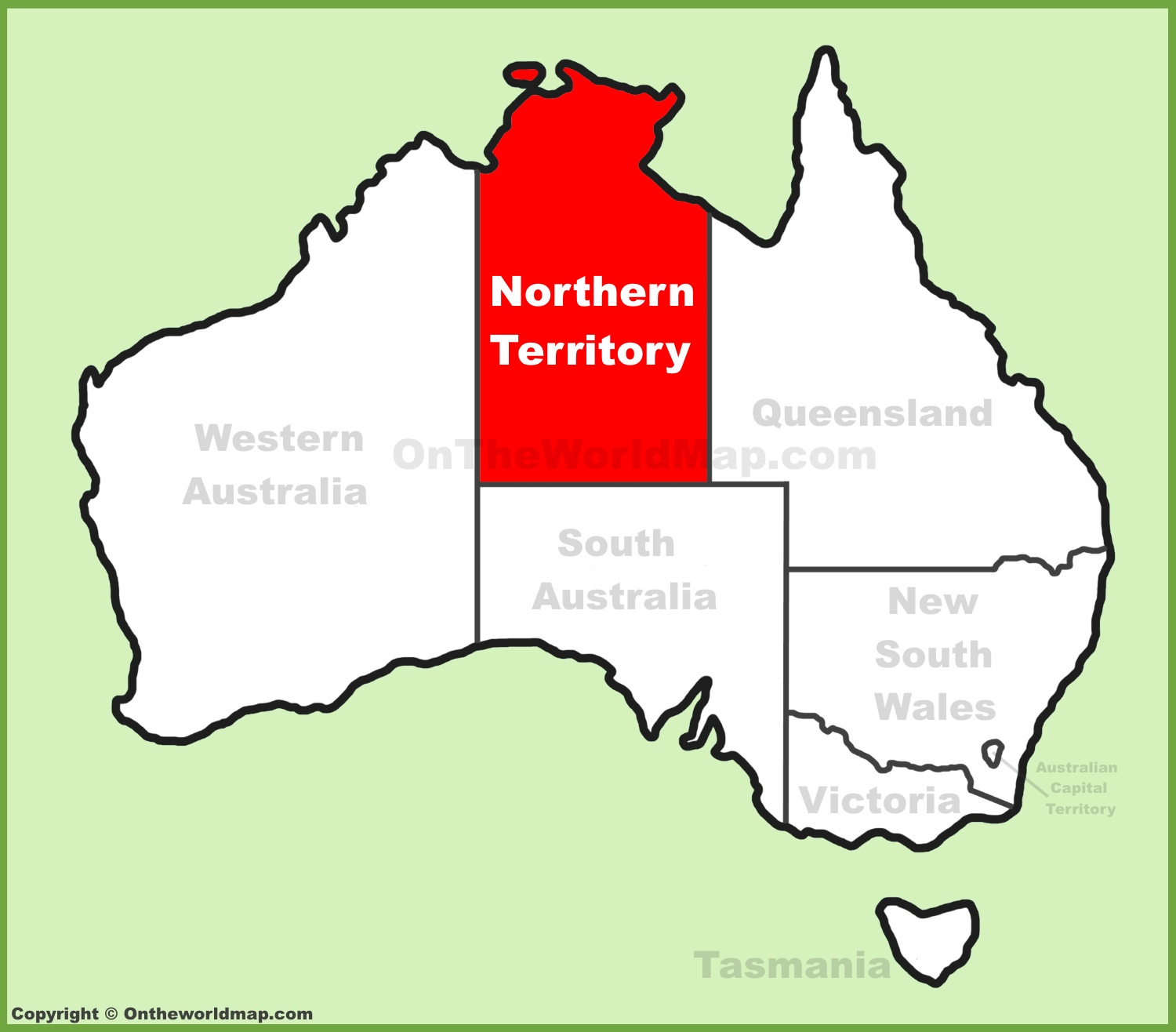 Northern Territory location on the Australia Map
