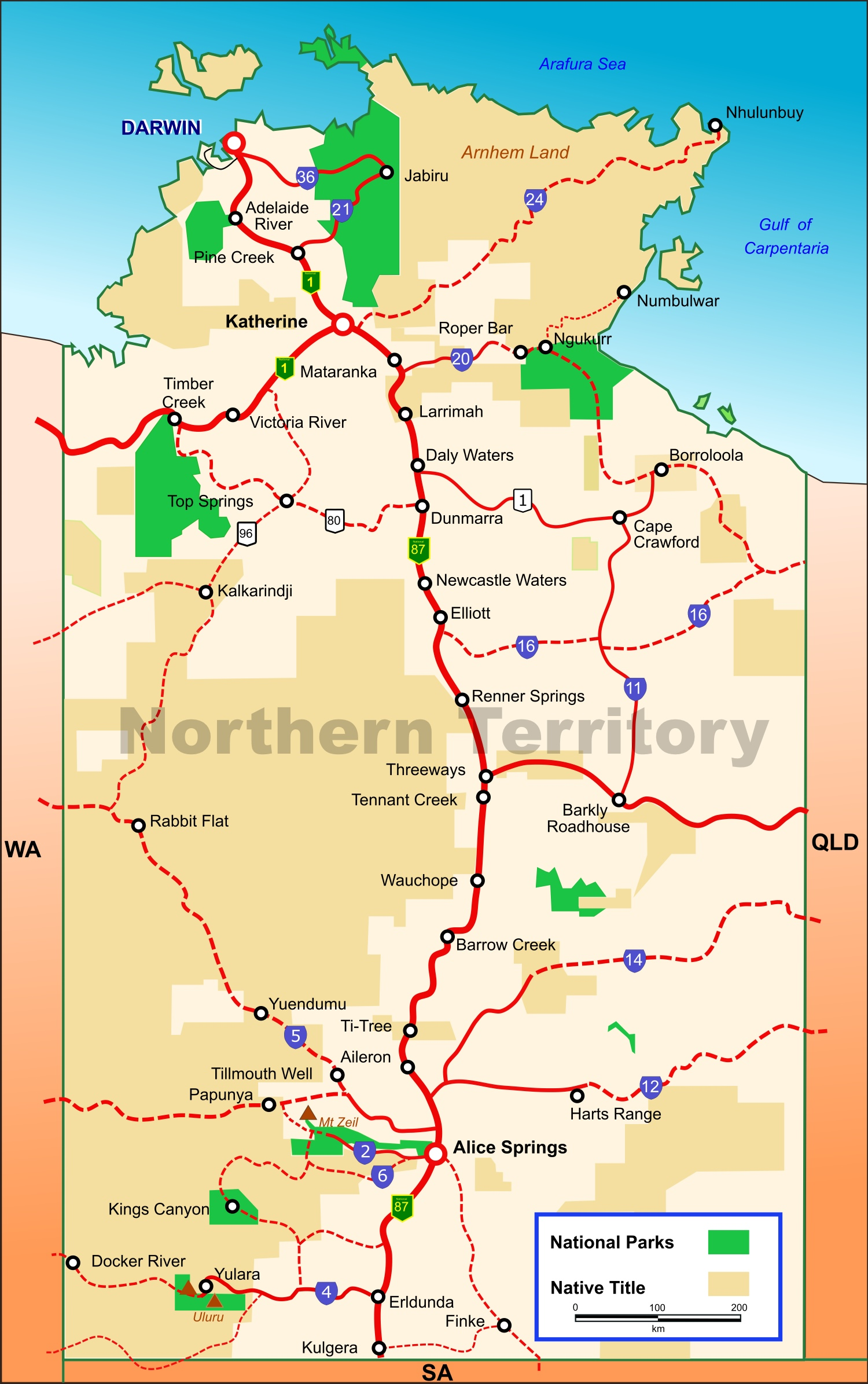 Map Northern Territory Northern Territory national parks map Map Northern Territory