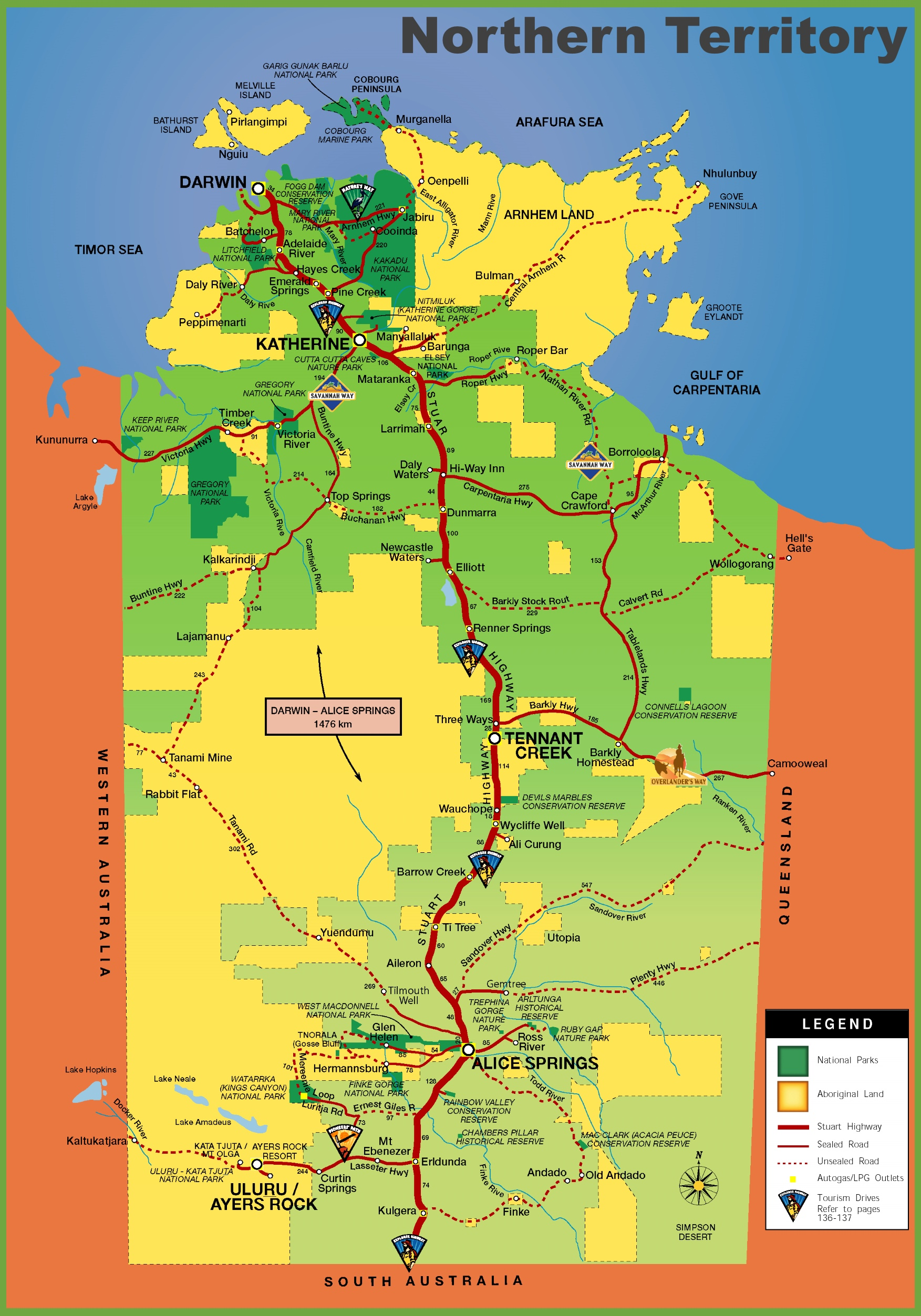 Map Of Nt Northern Territory tourist map
