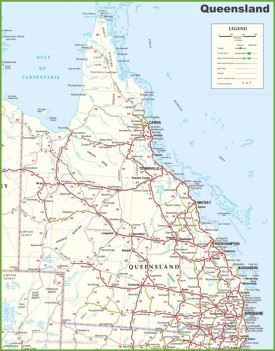 large detailed map of queensland with cities and towns