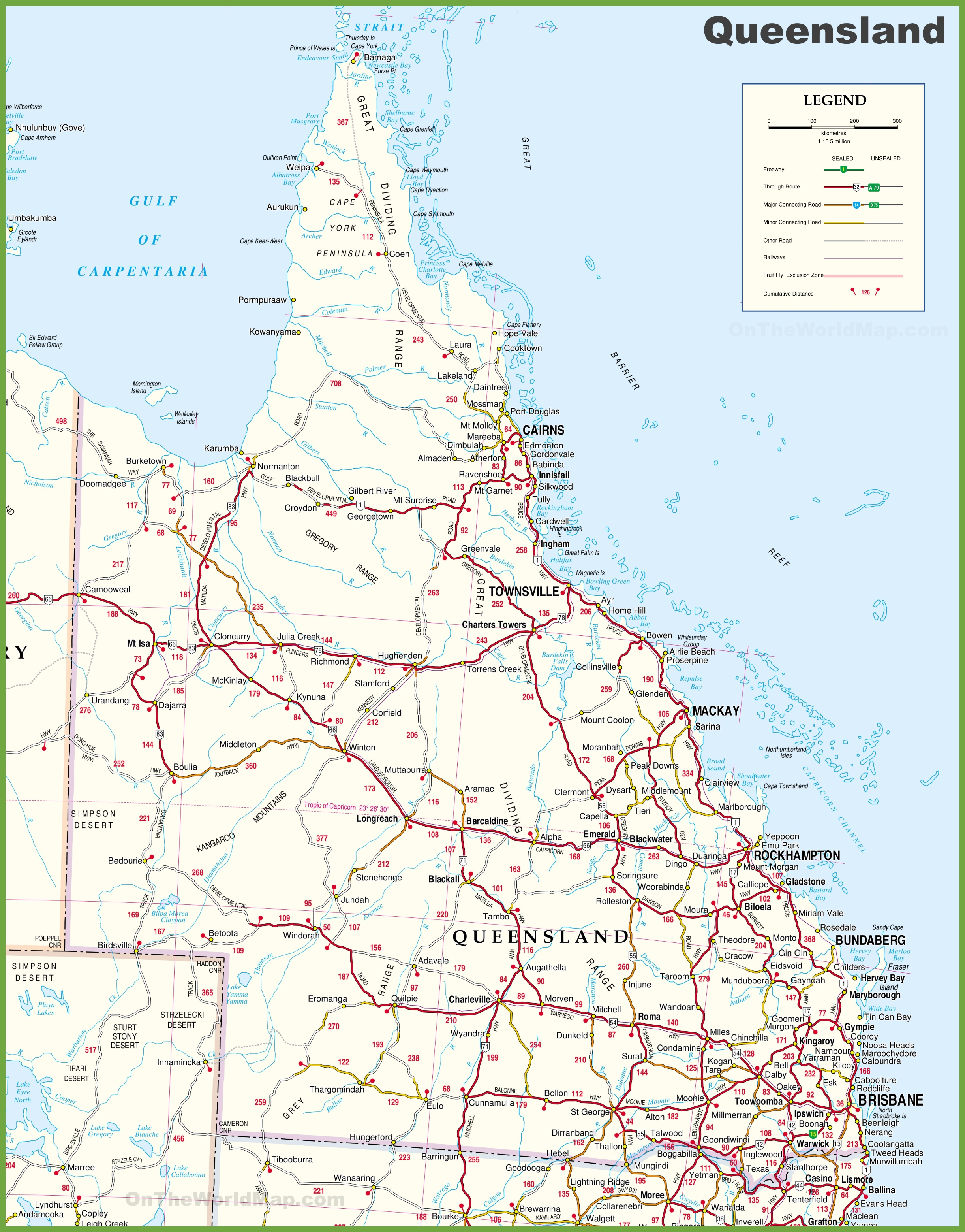 Queensland Coast Map Large detailed map of Queensland with cities and towns Queensland Coast Map