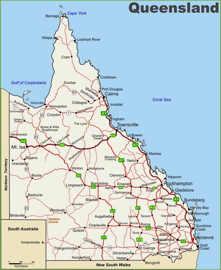 Queensland highway map