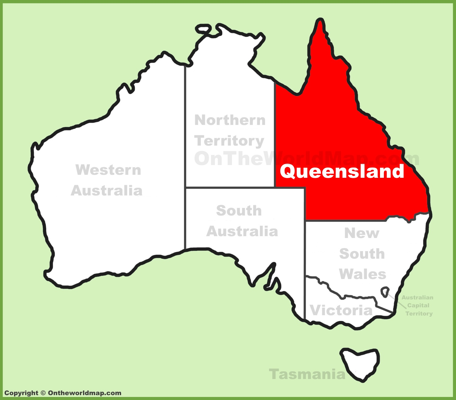 Queensland location on the Australia Map