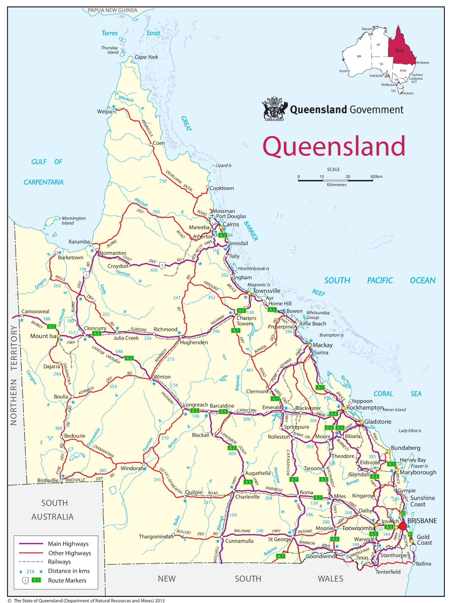 Map Queensland.Queensland Road Map