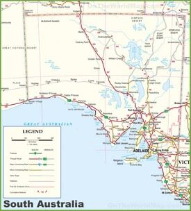 Large detailed map of South Australia with cities and towns