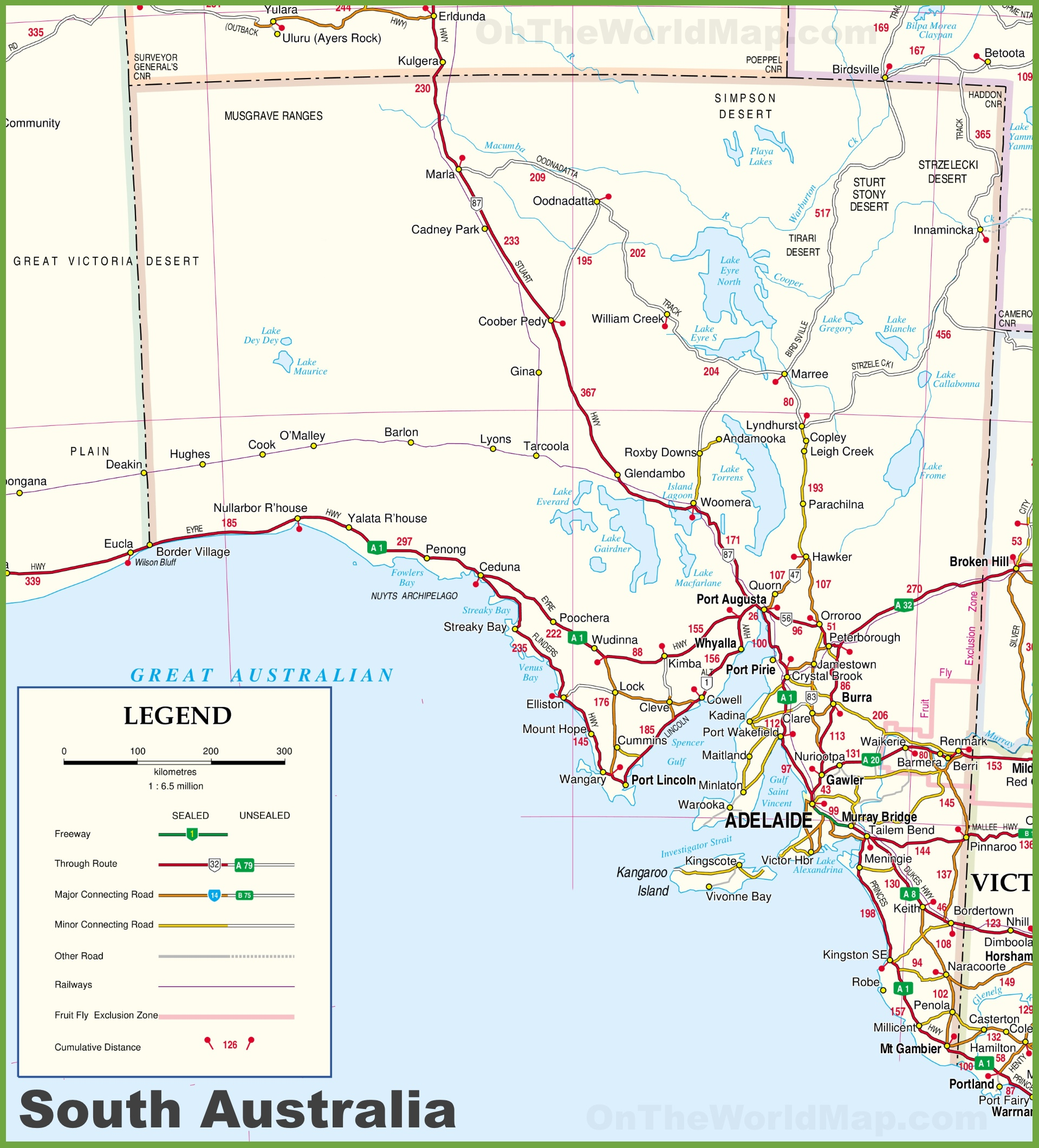 South Australia Map Large detailed map of South Australia with cities and towns