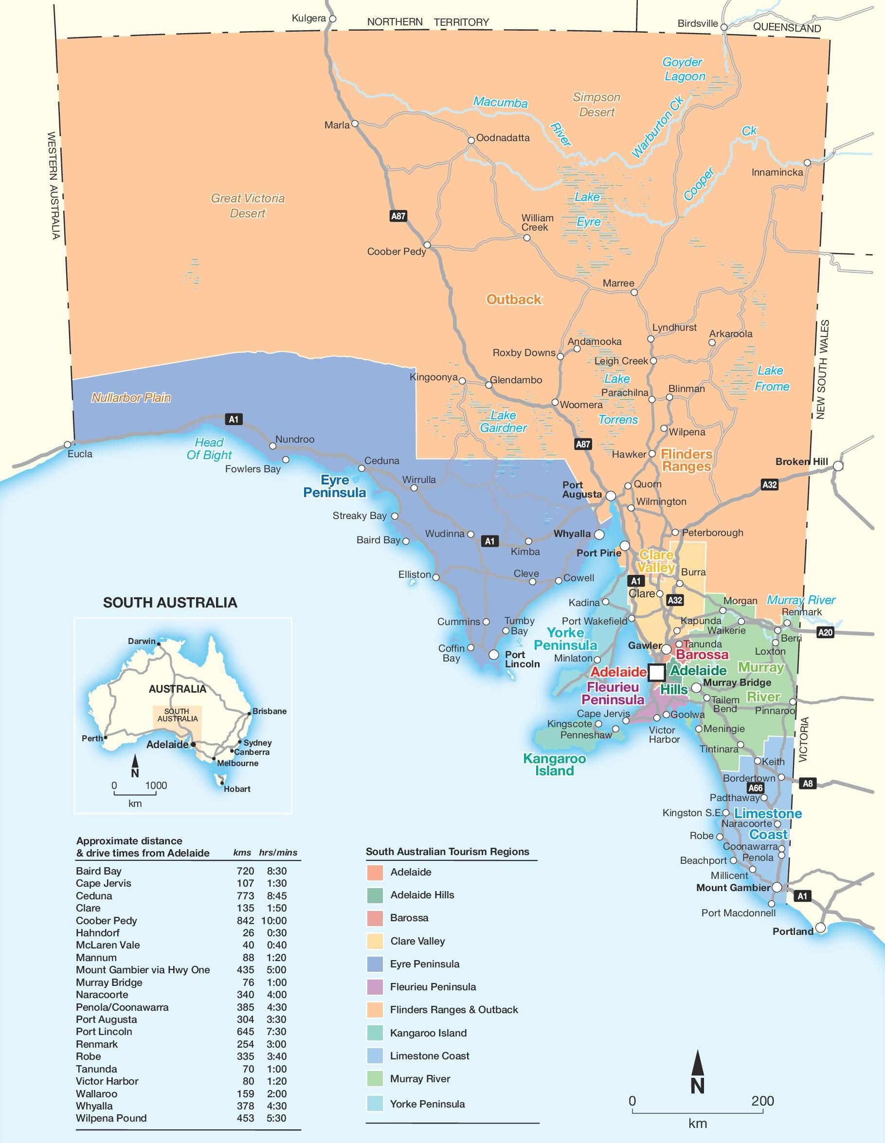 South Australia Map South Australia tourism regions map