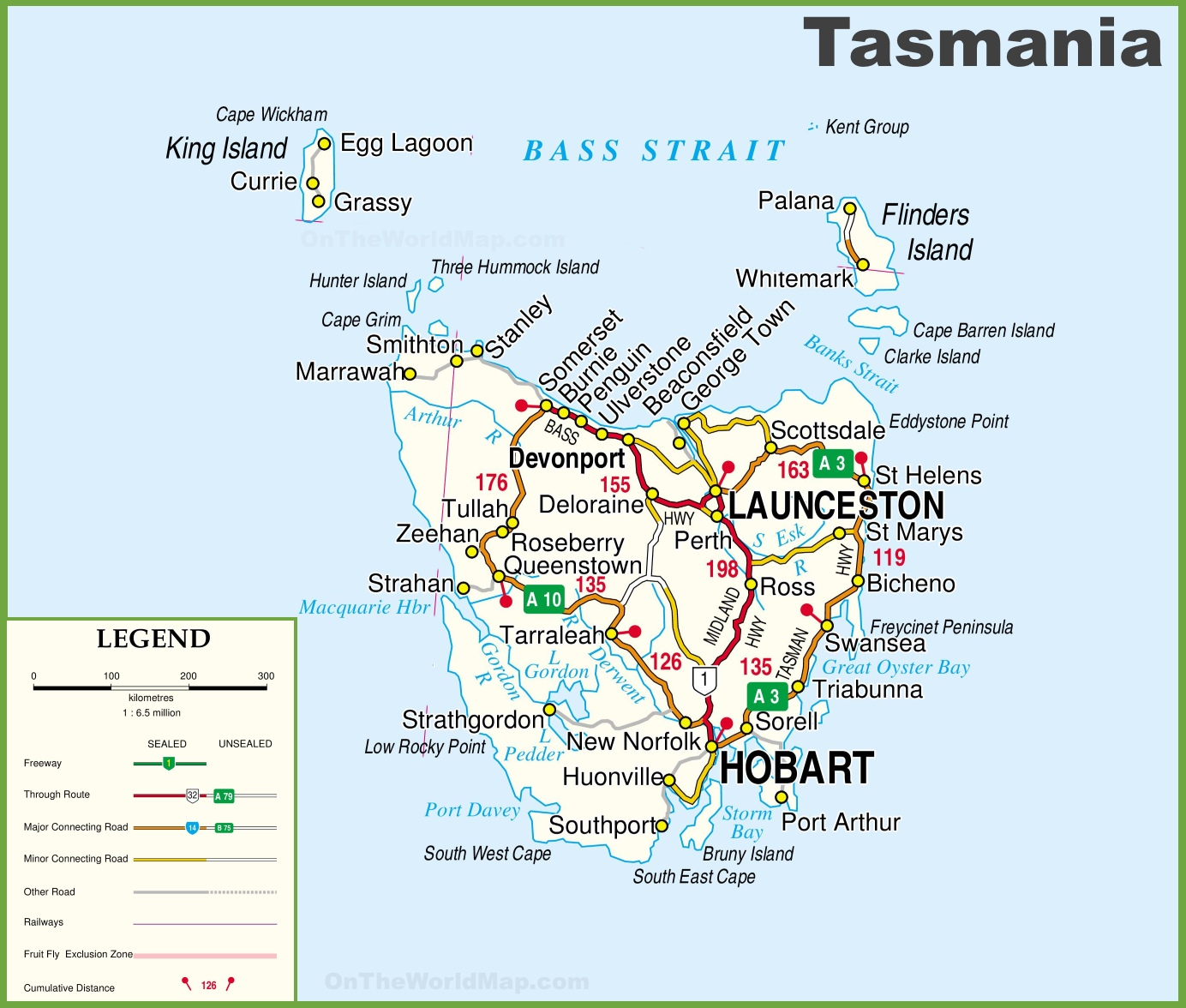Detailed Tasmania Road Map With Cities And Towns - Australian road maps free