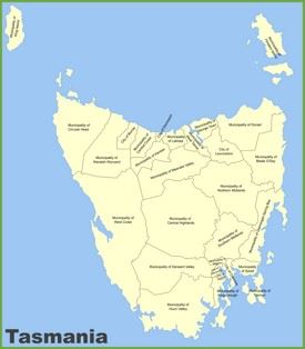 Tasmania local government area map