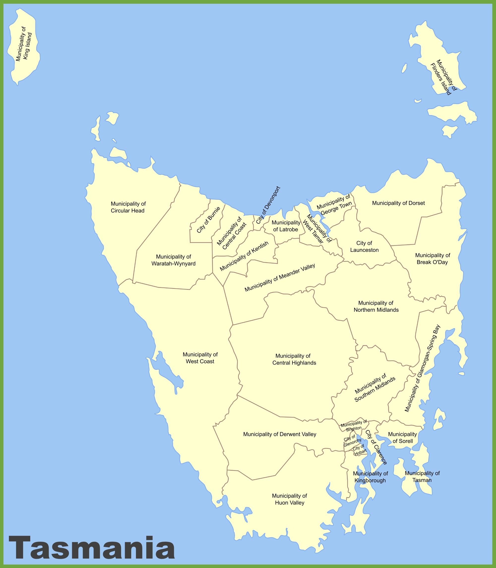 Local government areas of Tasmania