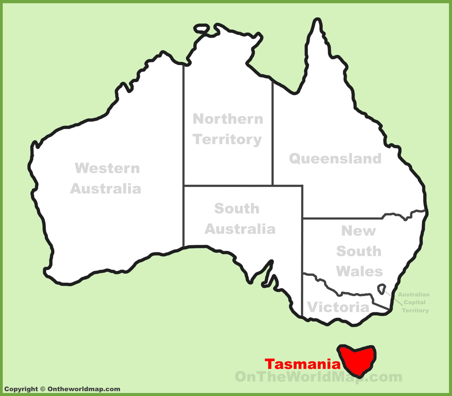 Tasmania location on the Australia Map