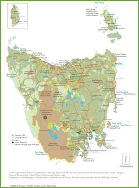 Tasmania national parks and reserves map