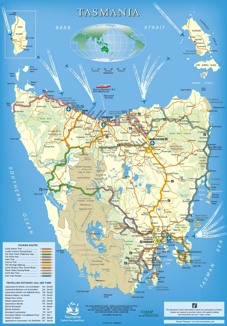 Tasmania trails map