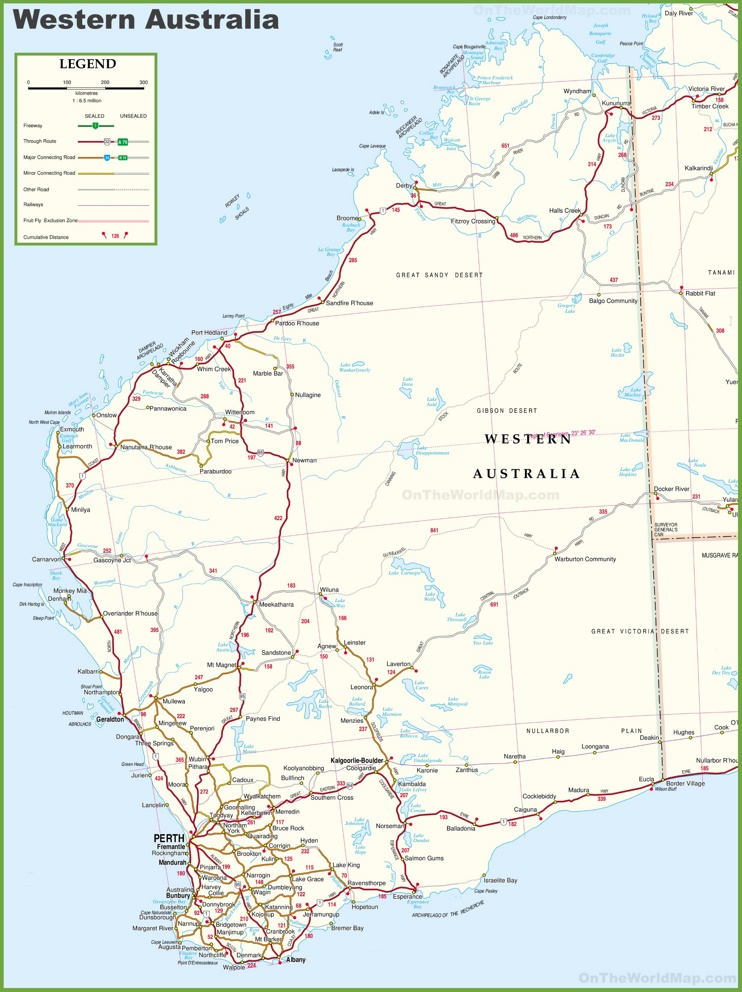 Large detailed map of Western Australia with cities and towns