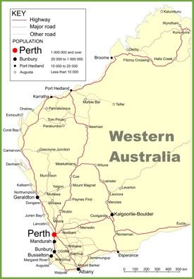 Road map of Western Australia with cities and towns