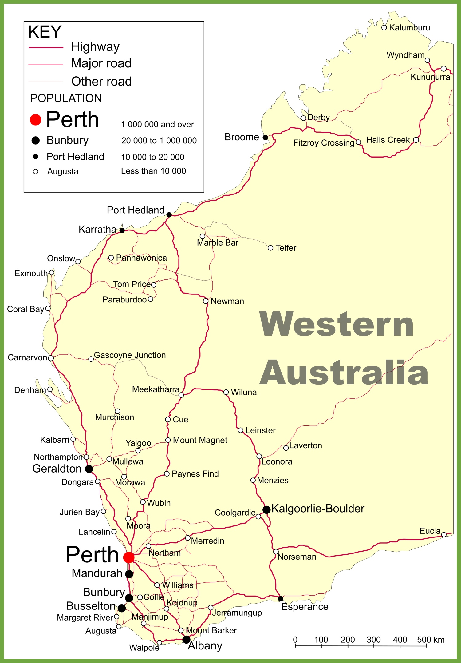 Western Australia Map Road map of Western Australia with cities and towns