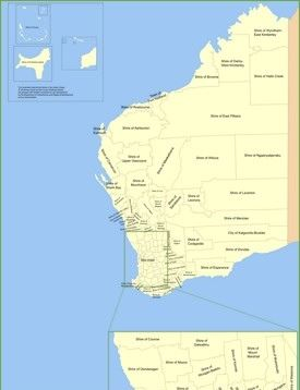 Western Australia local government area map