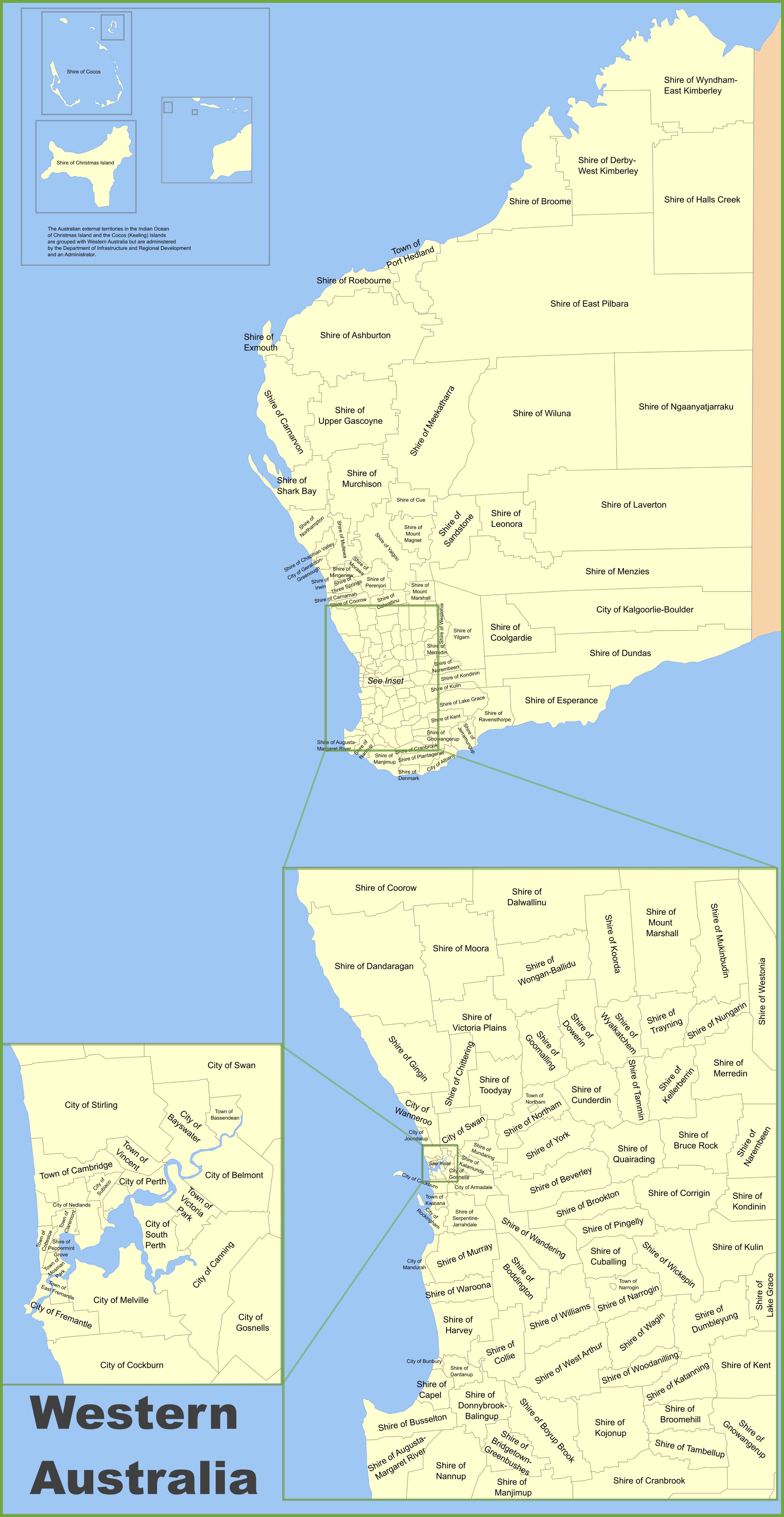 western australia local government area map