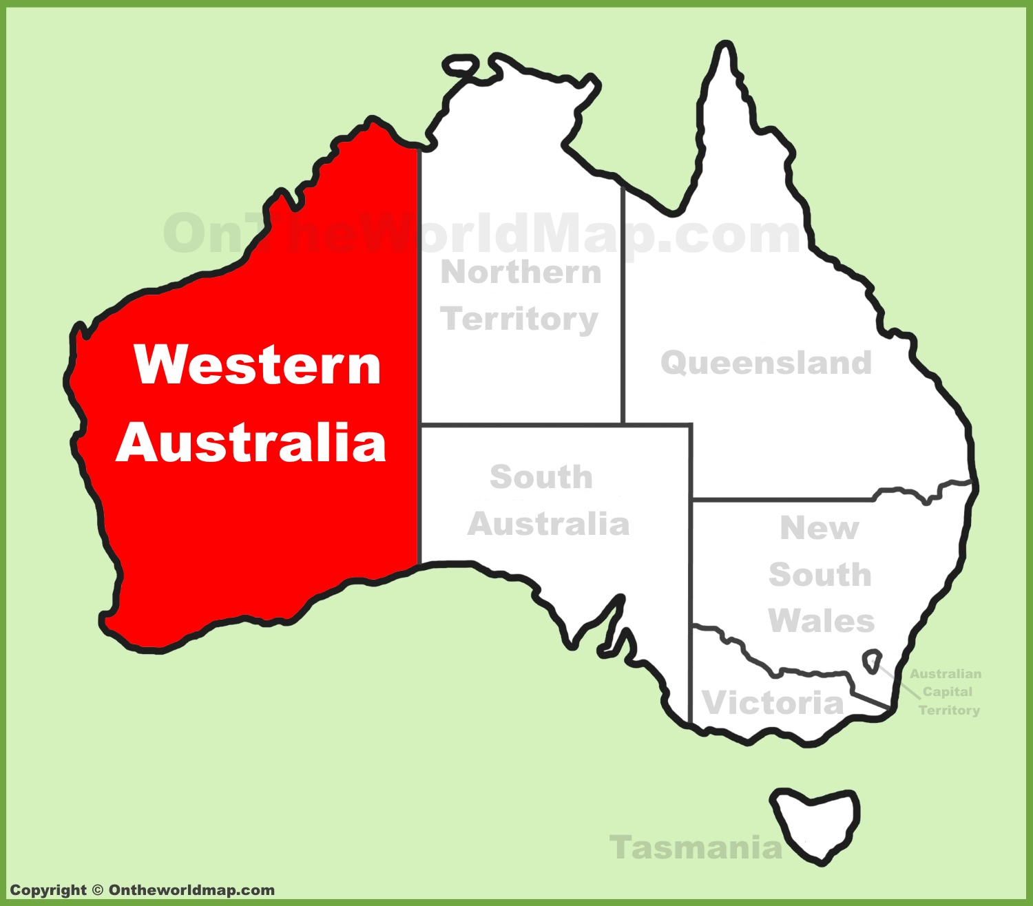 full size western australia location map