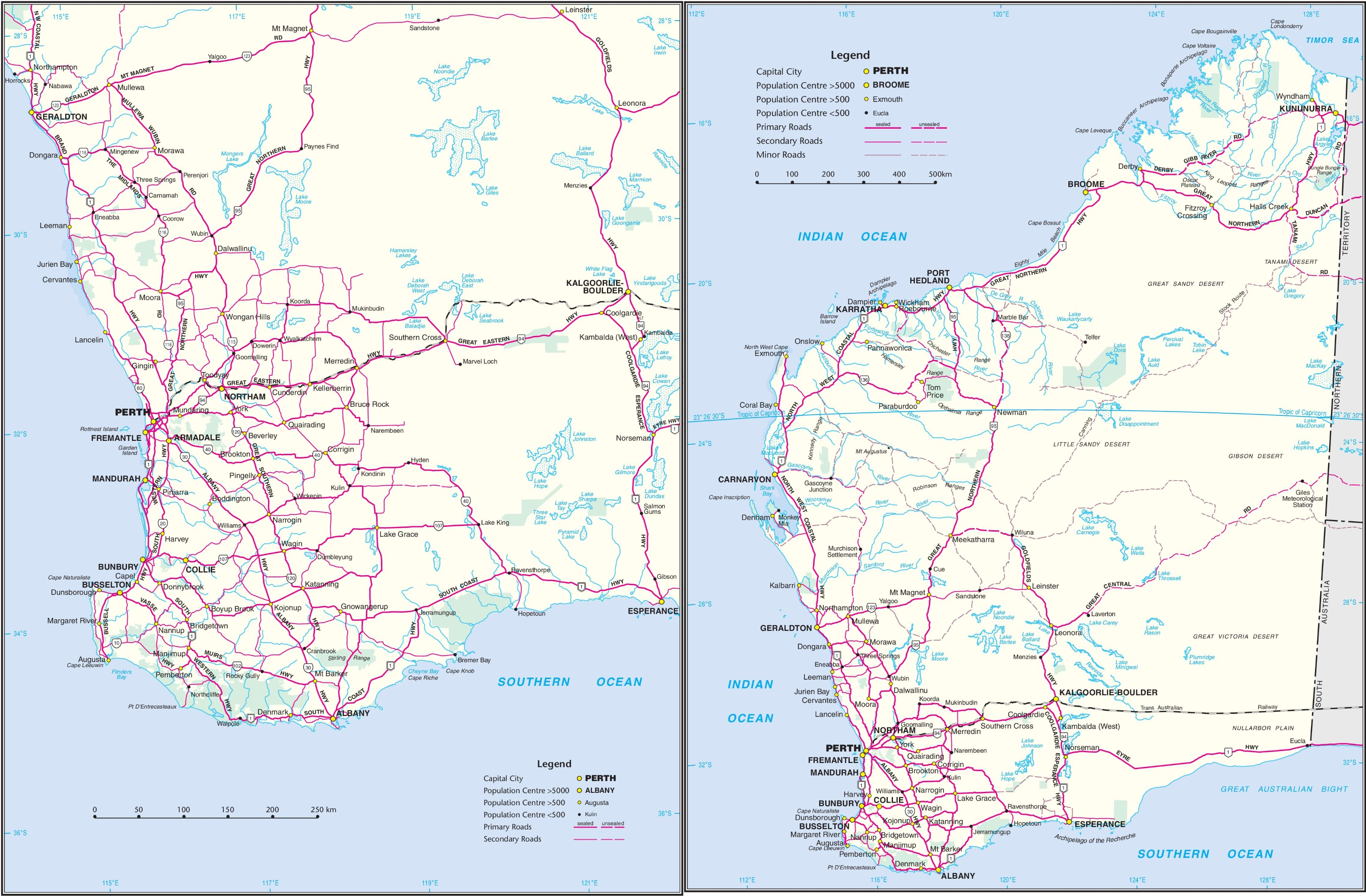 Western Australia Road Map - Map of western australia with towns
