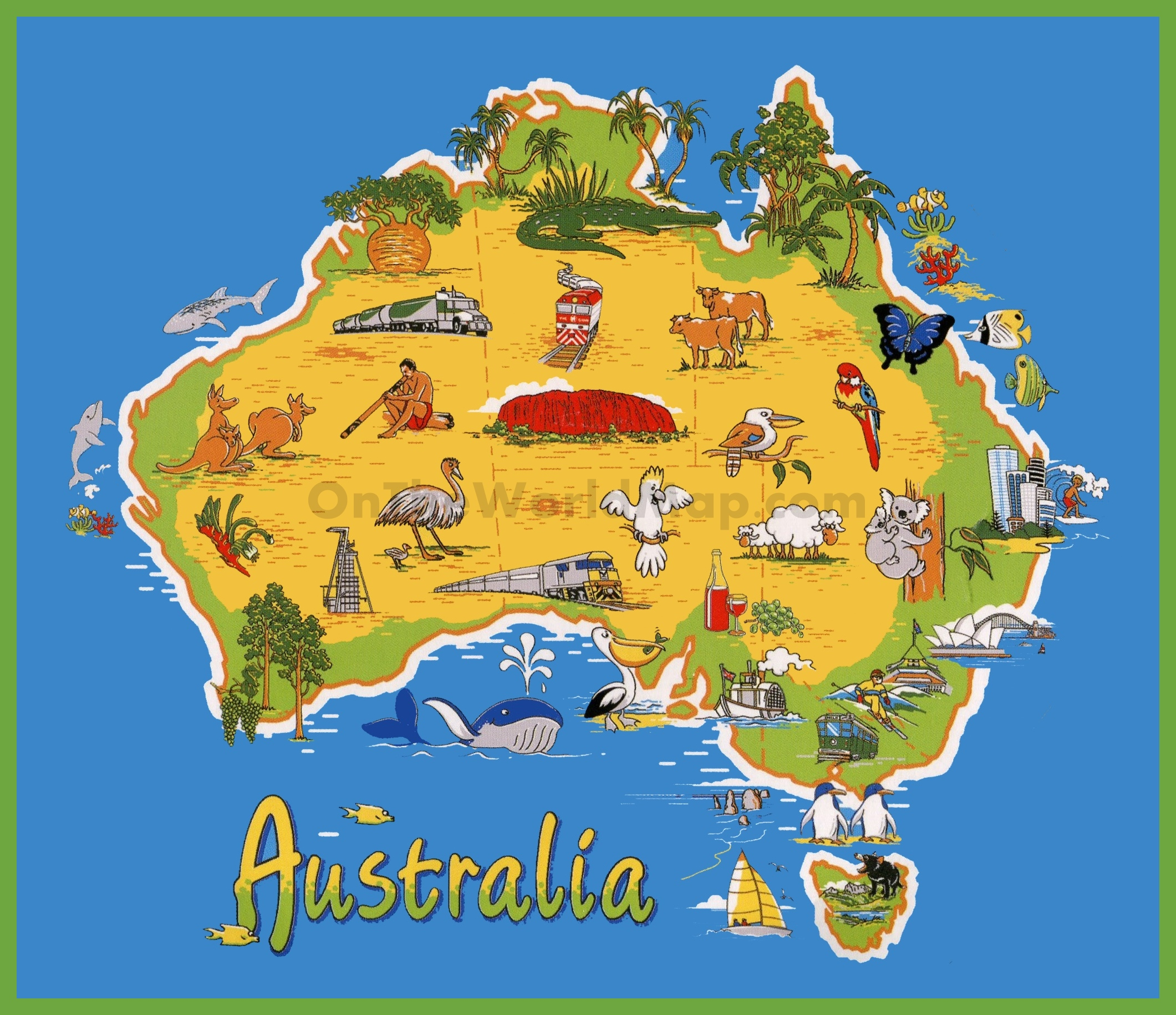 Australia On A Map.Travel Map Of Australia