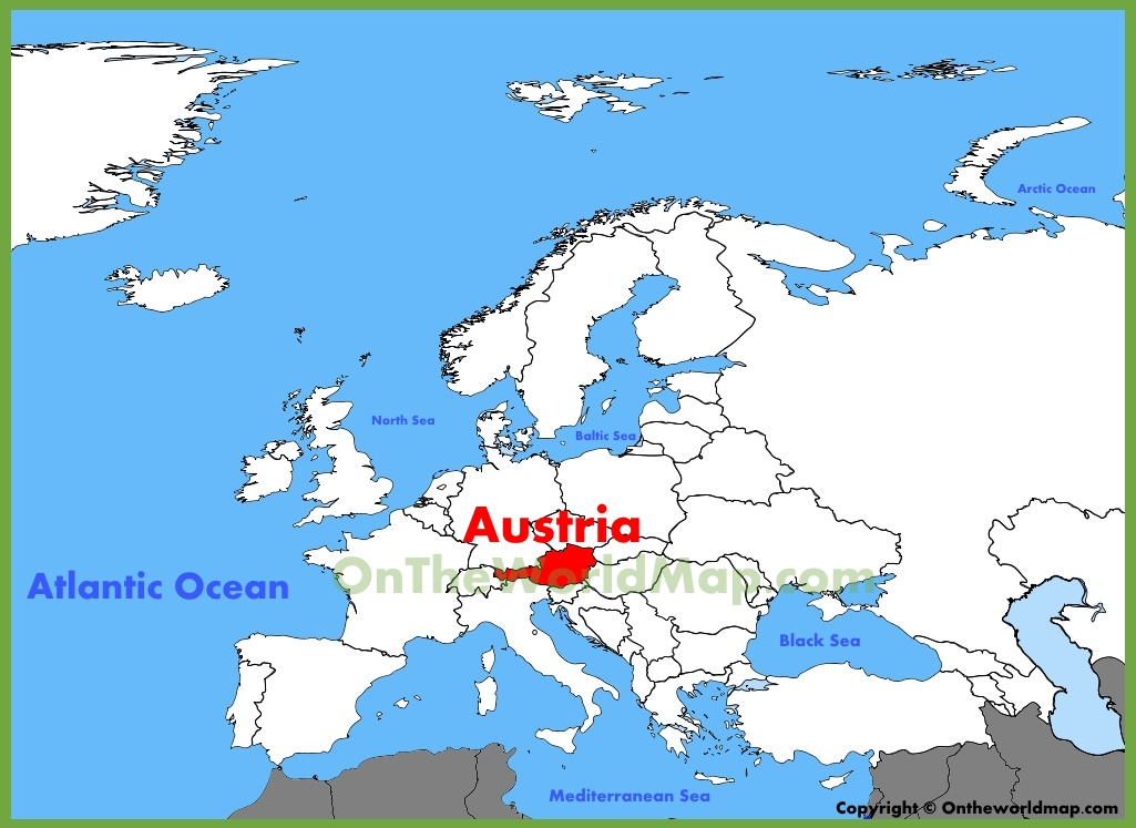 Austria World Map Austria location on the Europe map Austria World Map