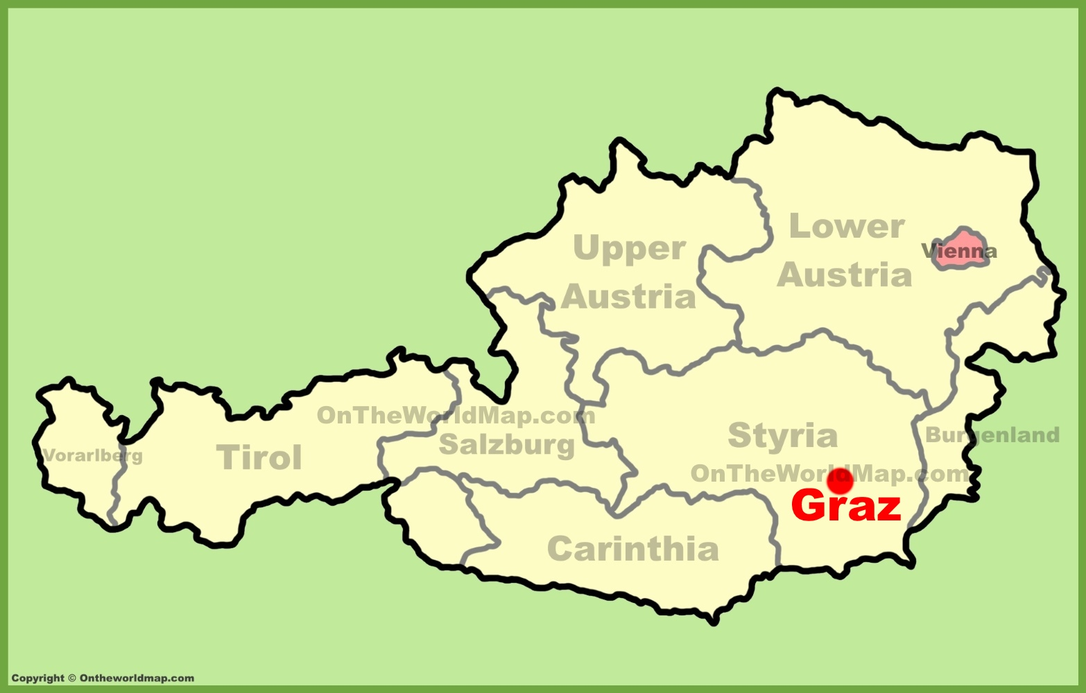 Graz Austria Map Graz location on the Austria Map