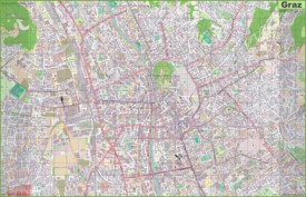Large detailed map of Graz