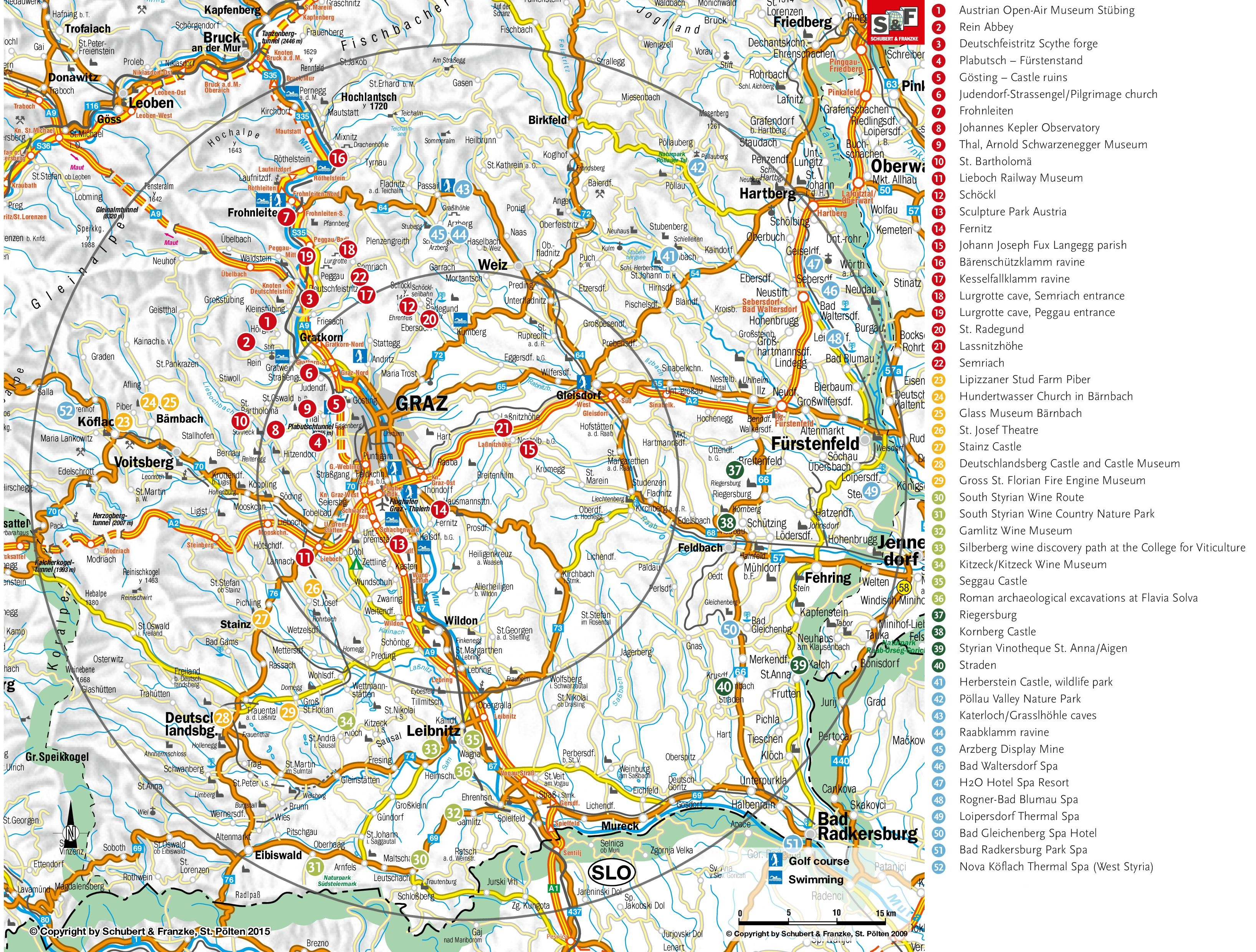 Tourist Map Of Surroundings Of Graz - Graz austria map