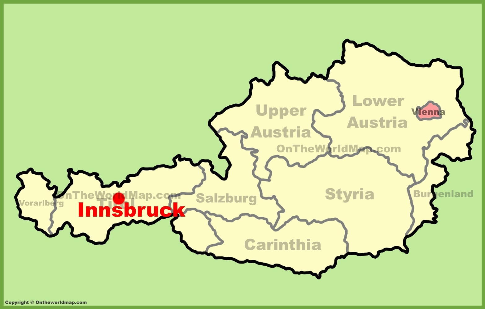 Innsbruck location on the Austria Map