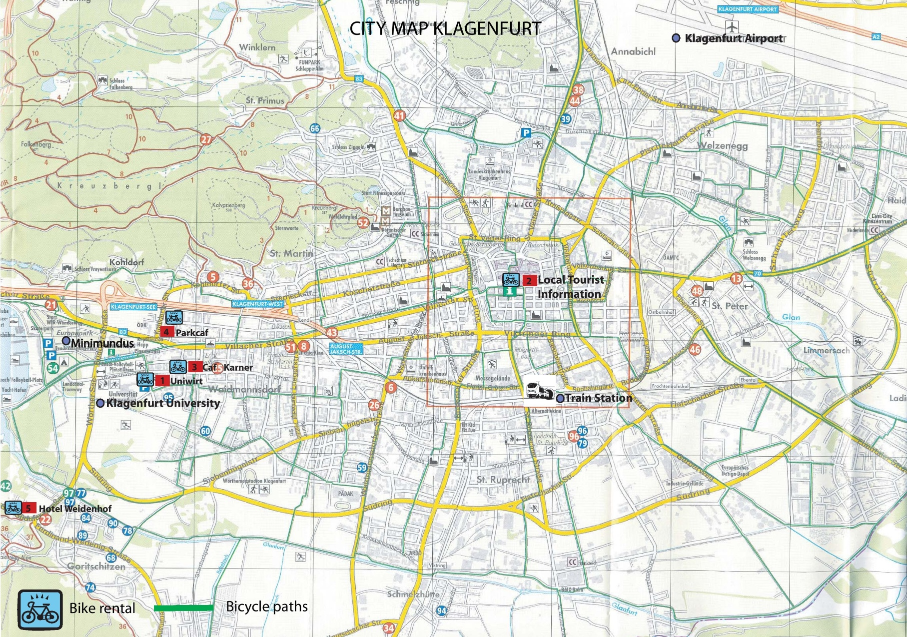 Klagenfurt bike map
