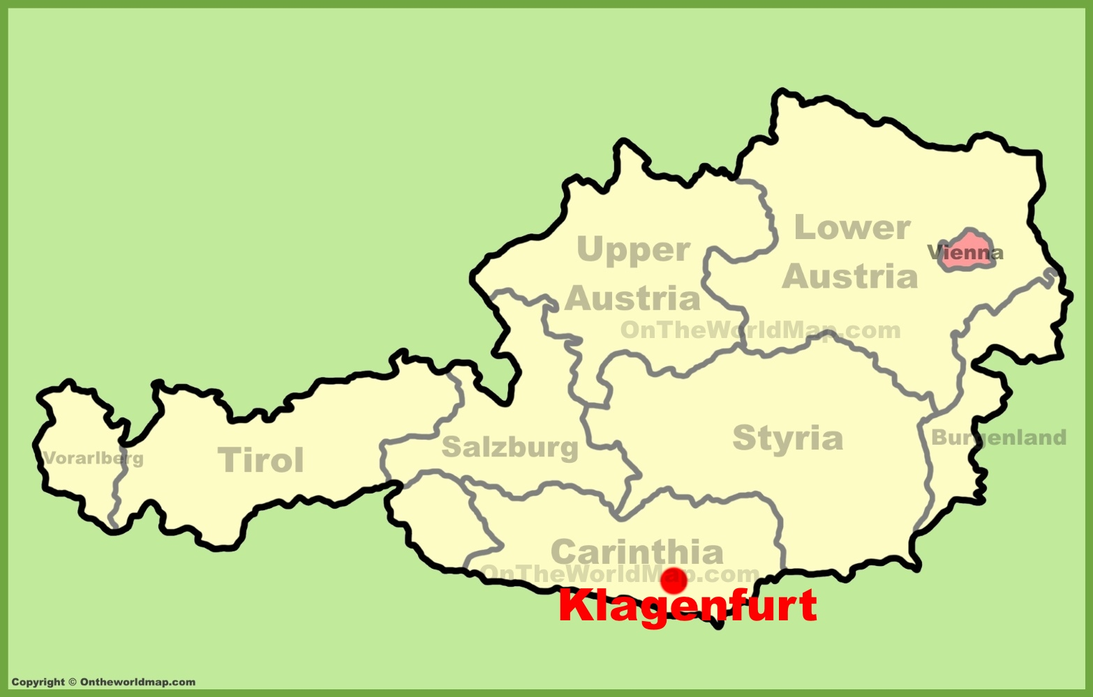 Klagenfurt location on the Austria Map