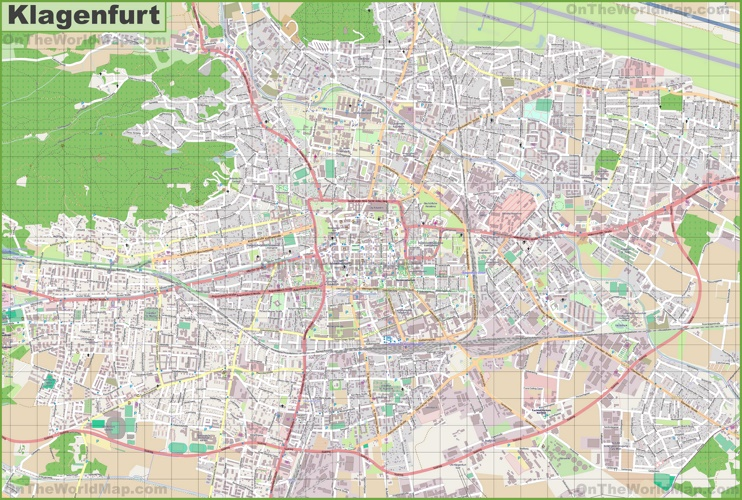 Large detailed map of Klagenfurt