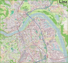 Large detailed map of Linz