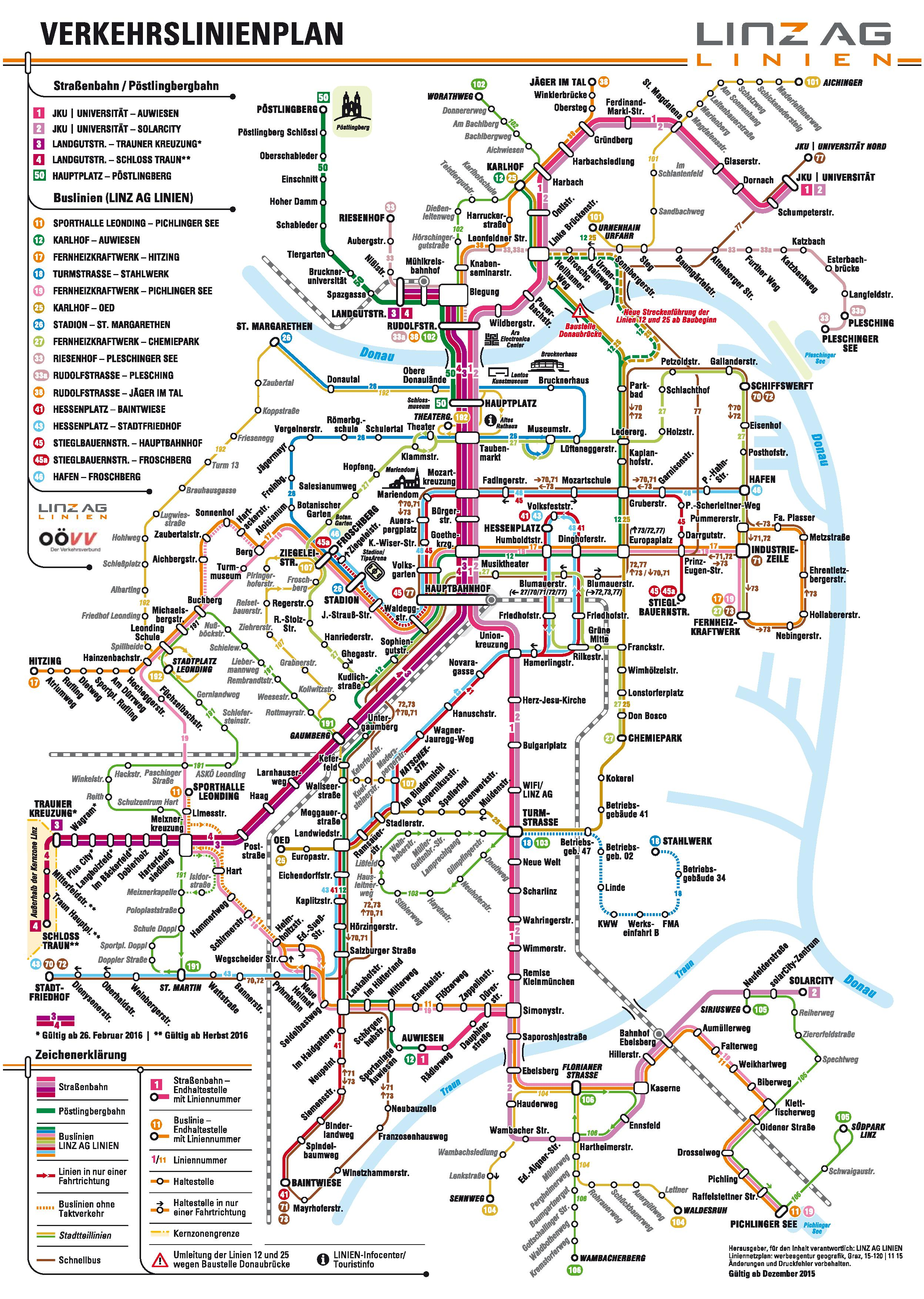 Linz public transport map