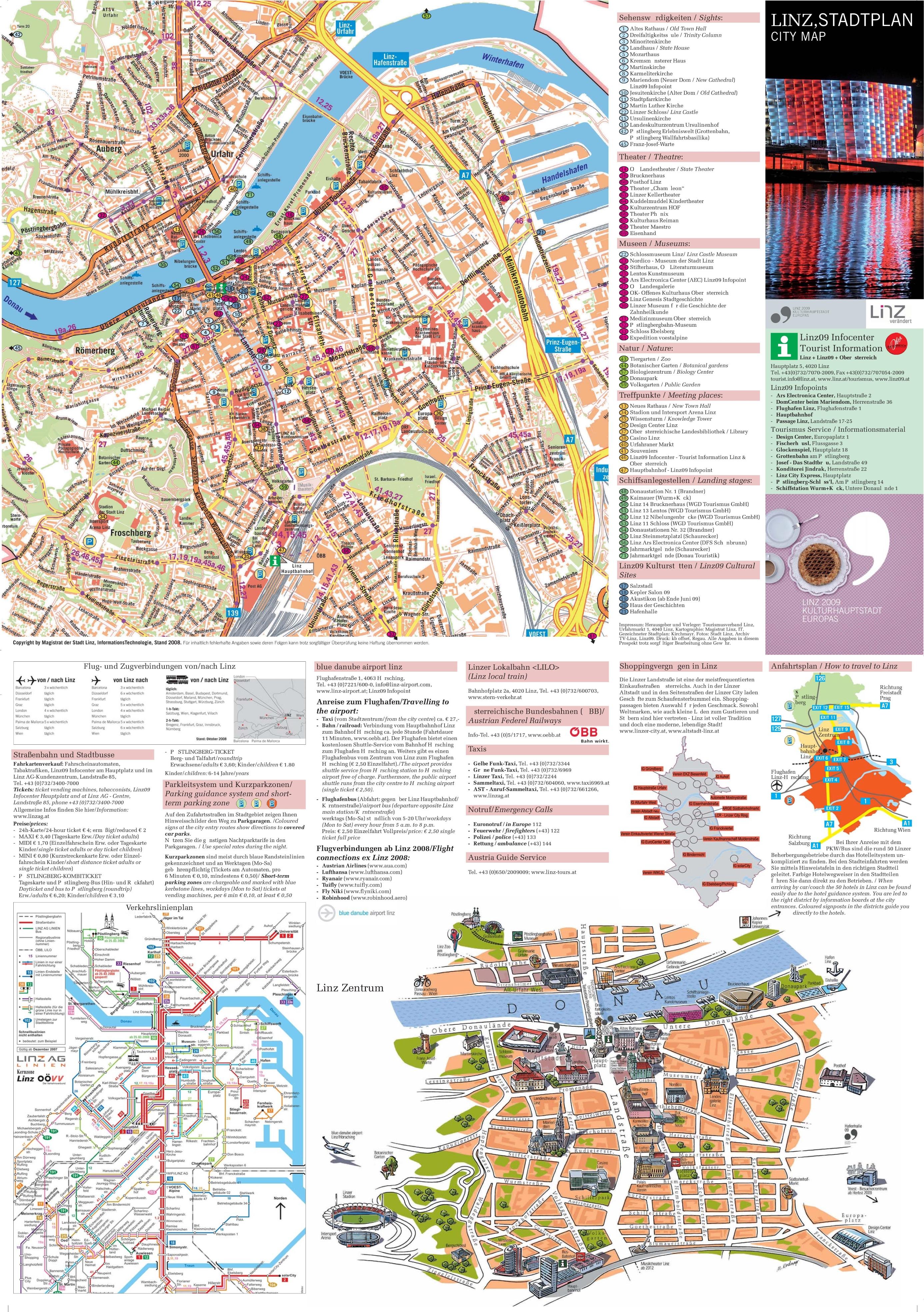 Linz Austria Map Linz tourist attractions map
