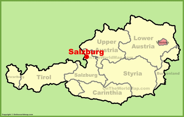 Salzburg location on the Austria Map