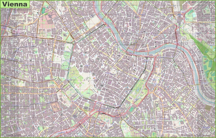 Large detailed map of Vienna