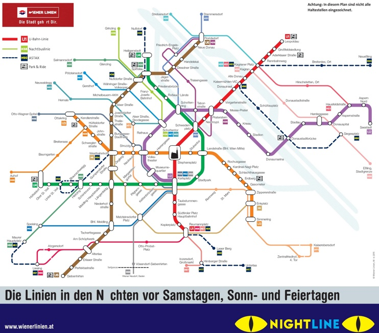 Vienna night U-Bahn and bus map