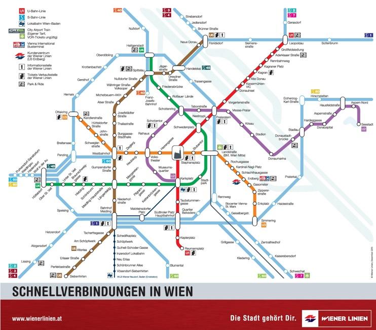 Vienna U-Bahn and S-Bahn map
