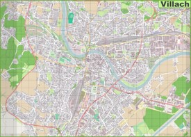 Large detailed map of Villach