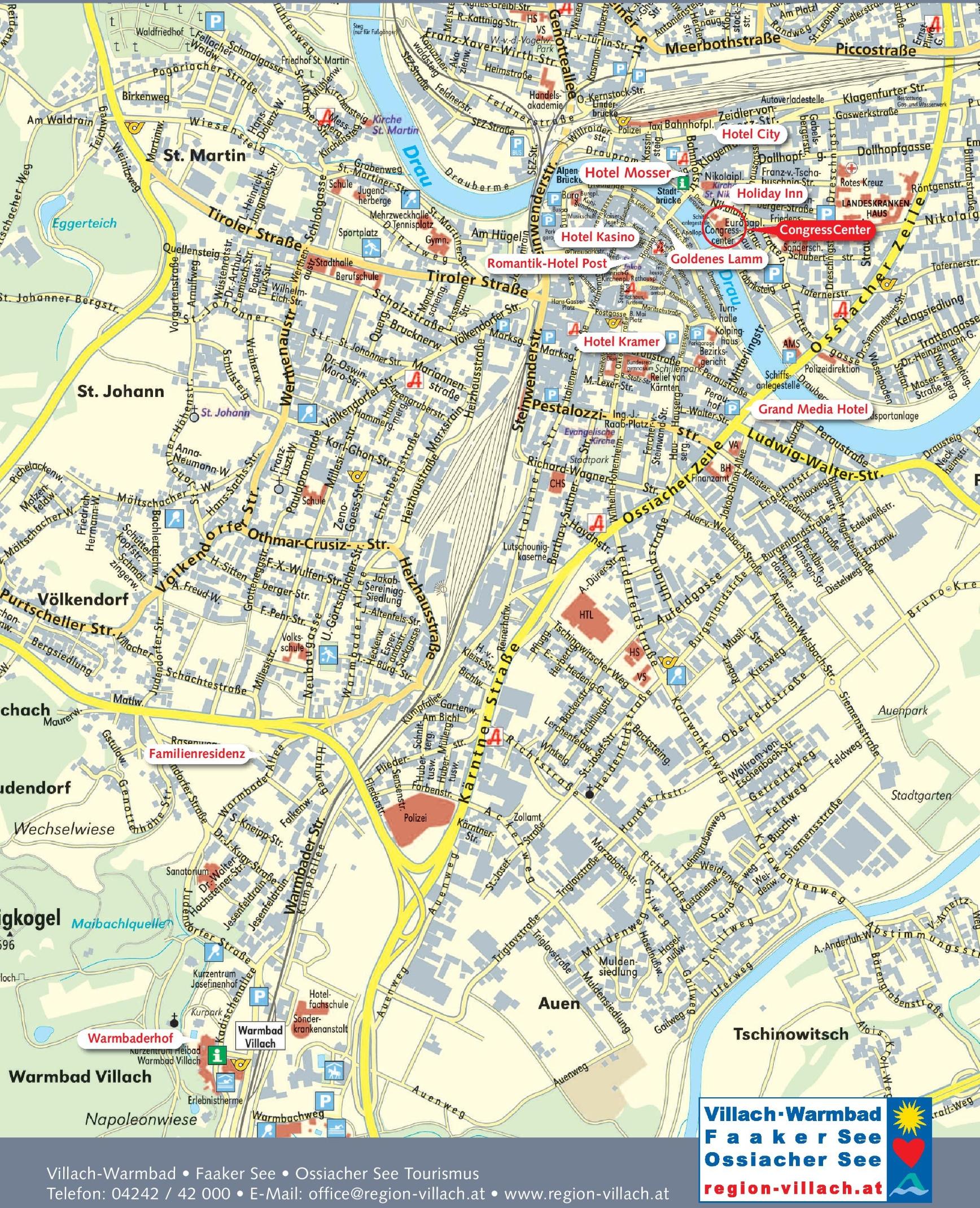 Villach tourist hotel map