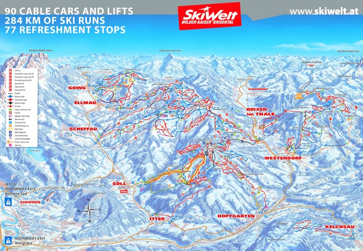 Brixental - SkiWelt ski map