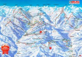 Saalbach, Hinterglemm, Fieberbrunn and Leogang ski map