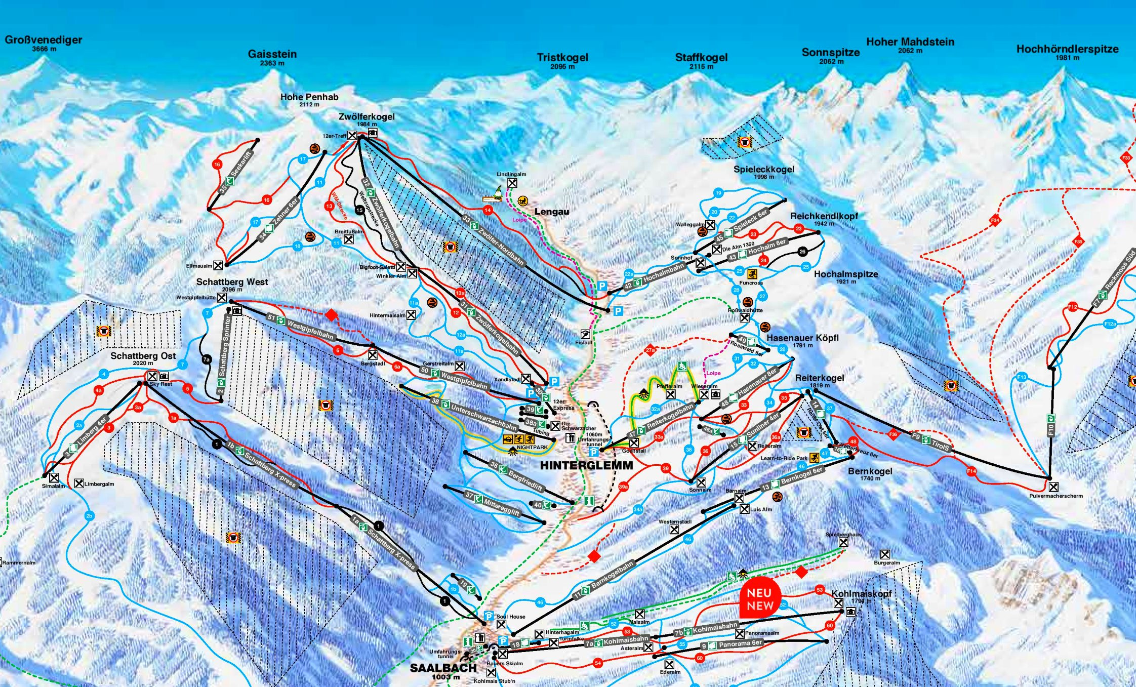 Saalbach Piste Map Saalbach   Hinterglemm ski map