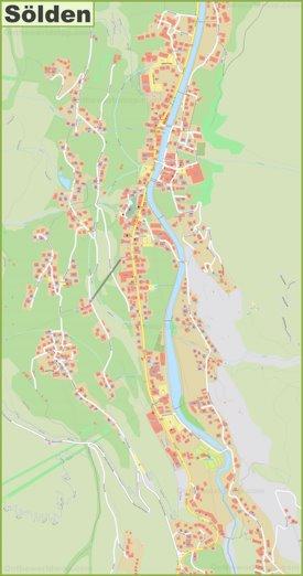 Detailed map of Sölden