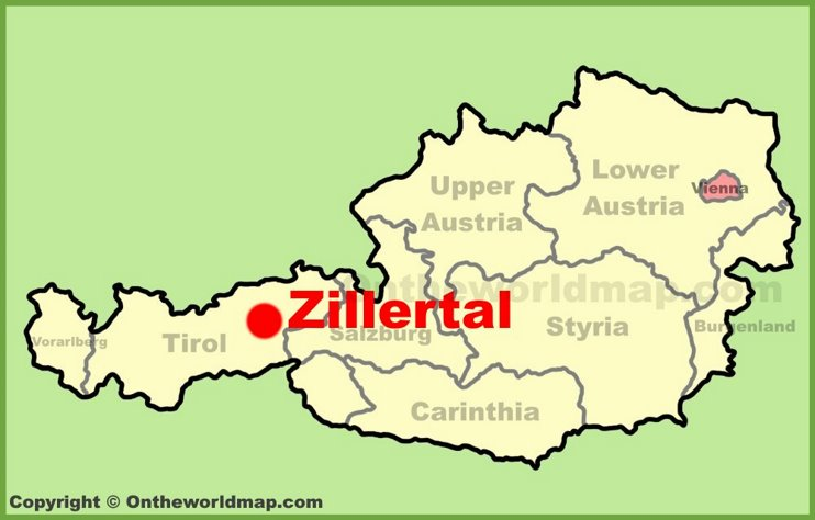 Zillertal location on the Austria Map