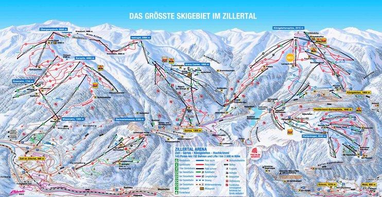 Zillertal ski map