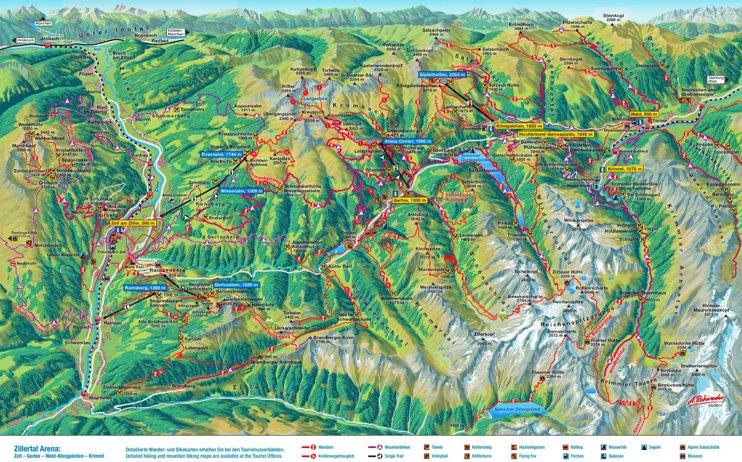 Zillertal summer map
