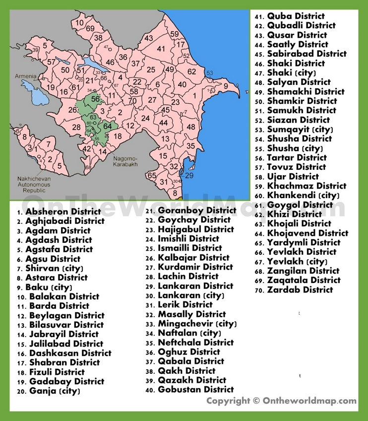 Administrative map of districts in Azerbaijan